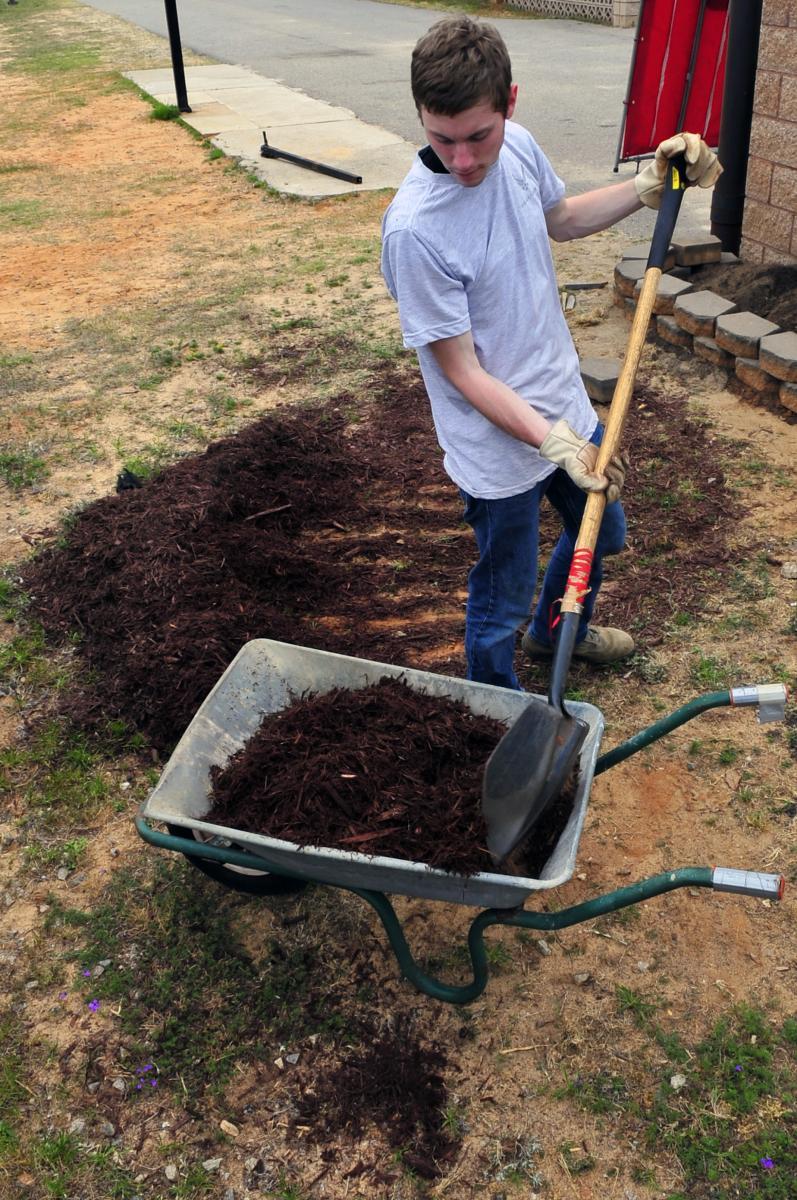 Applying compost